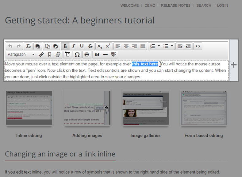 OpenCms | Step 2: Edit content